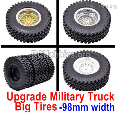 Subotech BG1525 Upgrade Large Military truck Wheel Tires  Parts for BG1525 BG1513 BG1518 Car. Its total amount is heavier. It's more stable to drive. Two colors,Each 4 set.